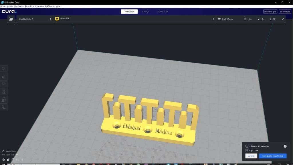 modèle du support de câbles dans le logiciel Cura