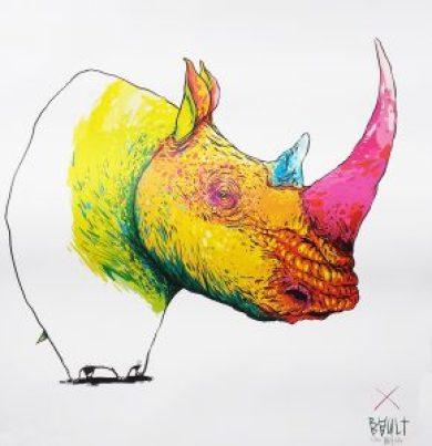 eklektike bault rhinoceros serigraphie 2014 ceredi claudia victoria