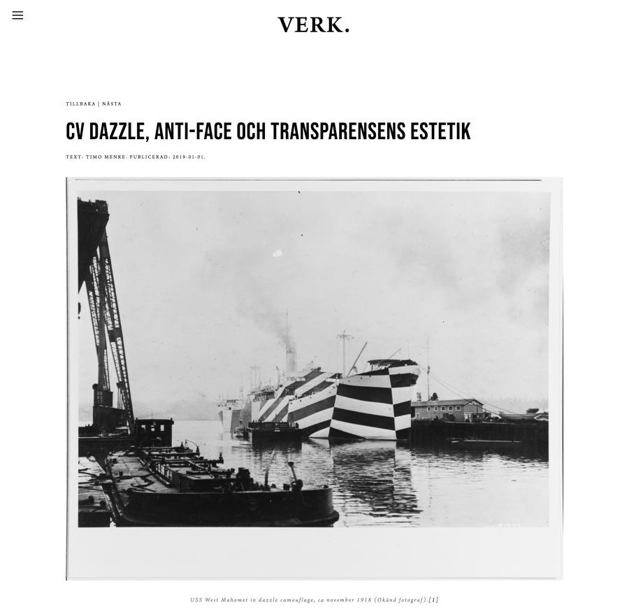 CV Dazzle, Anti-Face och transparensen. Text: Timo Menke — VERK