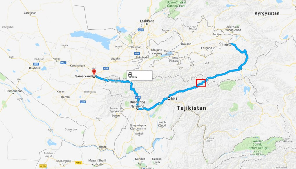 map from samarkand to osh via the pamir highway