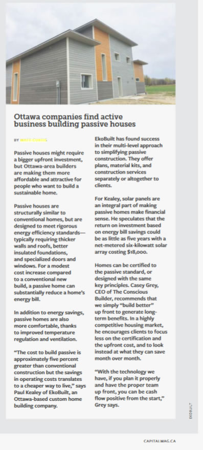 Article from Capital Magazine on passive house builders in Ottawa