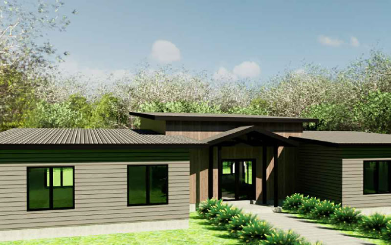 The Sunflower 3 house plan exterior, a bungalow