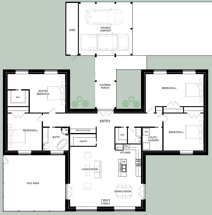 Variation on sunflower houseplan with 750 sq ft additional space, larger bedrooms and a carport