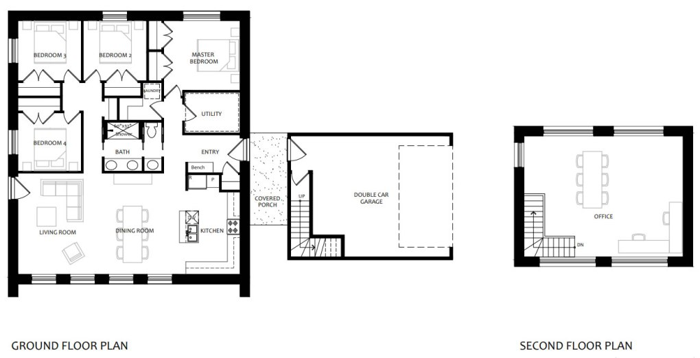 The main house plan and connected double car garage with office.