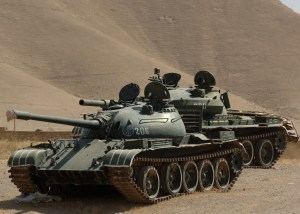 Russian T54/55 tanks of the Afghan National Army are shown here travelling along Route Pluto, Afghanistan.