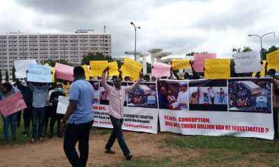 Protesters Demand The Arrest Of Lagos State Ex-Gov Bola Tinubu.