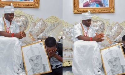 Ooni of Ife Offers Scholarship To Corn Seller's Son Who Made A Portrait Of Him