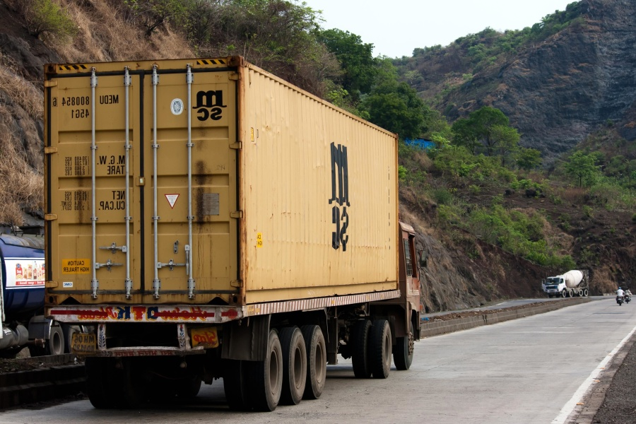 trailer, truck, container