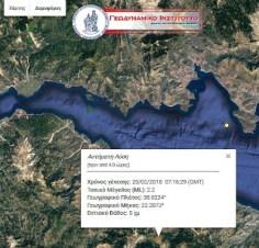 Σεισμική δόνηση 2,2 βαθμών της κλίμακας Ρίχτερ κοντά στα Τρίκαλα Ξυλοκάστρου