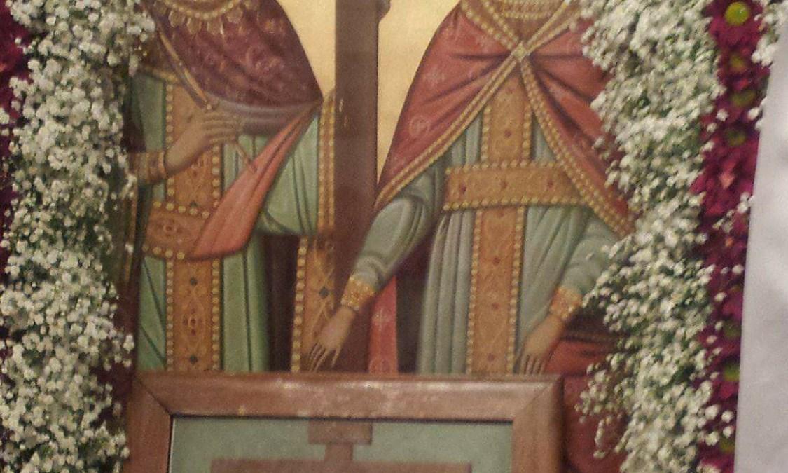 Εσπερινος μετα αρτοκλασιας, στον εορταζοντα ιερο ναο των Αγ.Κων/νου και Ελενης στο Δενδρο