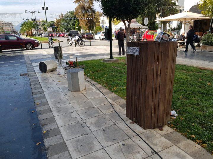 Νέοι κάδοι και επισκευές στα παγκάκια στην Εθνικής Αντιστασεως στην Κόρινθο