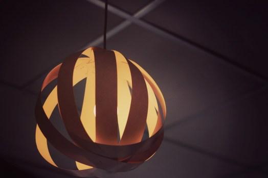 Waste paper strip lamp