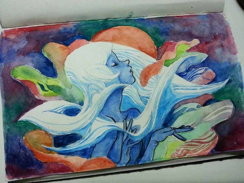 A watercolor experiment by Jiwo. We love how surreal and dreamlike this piece is :)