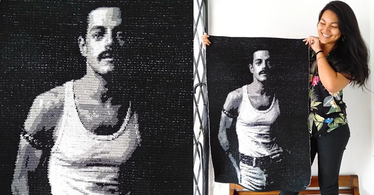 Malaysian Queen Fan Creates A Lifelike Crochet Tapestry Of Rami Malek's Freddie Mercury. It's Perfect.