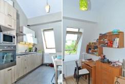 zdjęcie przedstawia dwa pomieszczenia: luksusowy aneks kuchenny oraz pokój dziecięcy