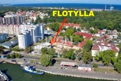rzut z lotu ptaka na osiedle w Świnoujściu, w którym mieści się oferowany na sprzedaż apartament