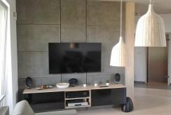 na zdjęciu fragment salonu z nowoczesną aranżacją i sprzętem RTV w apartamencie w Katowicach do sprzedaży