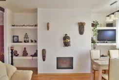 na zdjęciu salon z kominkiem w ekskluzywnym apartamencie na sprzedaż w Wałbrzychu
