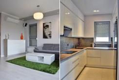 zdjęcie prezentuje fragment salonu i kuchni w apartamencie w Legnicy na sprzedaż
