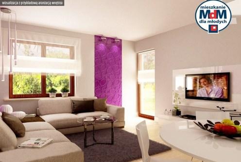 wizualizacja przedstawia przykładową aranżację salonu w luksusowym apartamencie do sprzedaży w Legnicy