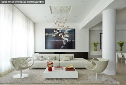 na zdjęciu wizualizacja przykładowej aranżacji wnętrza w apartamencie na sprzedaż w Legnicy