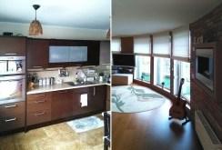 zdjęcie przedstawia fragment kuchni oraz salonu w ekskluzywnym apartamencie w Szczecinie do wynajęcia