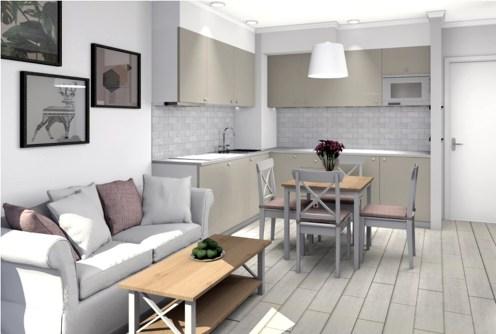 wizualizacja przedstawia przykładową aranżację wnętrza luksusowego apartamentu do sprzedaży nad morzem