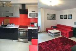 po lewej kuchnia po prawej salon w ekskluzywnym apartamencie do wynajęcia w Szczecinie
