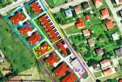 rzut z lotu ptaka na całe osiedle w Chrzanowie, gdzie znajduje się luksusowa willa do sprzedaży