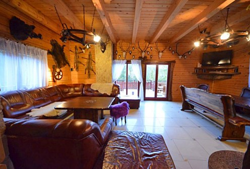 luksusowy salon w ekskluzywnej willi do sprzedaży w Wiśle