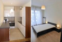 po lewej kuchnia, po prawej sypialnia w ekskluzywnym apartamencie w Katowicach na wynajem