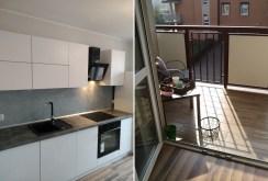 po lewej kuchnia, po prawej balkon w luksusowym apartamencie w Kaliszu na sprzedaż