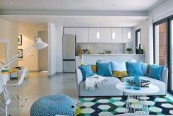 widok od strony salonu na aneks kuchenny w luksusowym apartamencie do sprzedaży w Hiszpanii