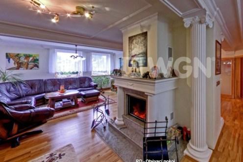 komfortowy salon z kominkiem w ekskluzywnej willi do sprzedaży w Czechach