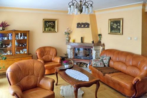 stylowy salon z kominkiem w ekskluzywnej willi do sprzedaży w Katowicach