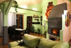 widok na kominek w salonie luksusowego apartamentu do sprzedaży w Szczecinie