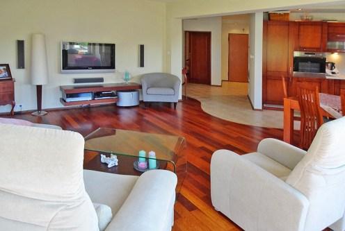 komfortowy salon w ekskluzywnym apartamencie do sprzedaży w okolicach Szczecina