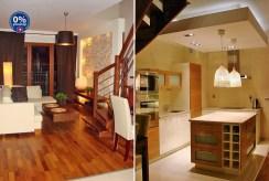 po lewej salon, po prawej kuchnia w luksusowym apartamencie we Wrocławiu na wynajem