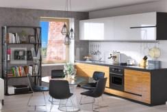 widok na jadalnię i kuchnię w luksusowym apartamencie do sprzedaży w okolicach Piły