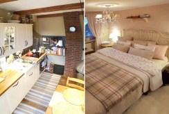 po lewej kuchnia, po prawej sypialnia w luksusowym apartamencie w Krakowie na wynajem