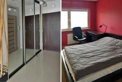 po lewej przedpokój, po prawej sypialnia w ekskluzywnym apartamencie do wynajmu w Katowicach