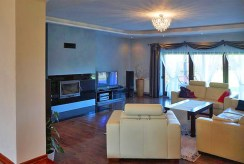 widok na salon z kominkiem w luksusowej willi do sprzedaży we Wrocławiu
