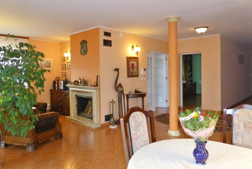 komfortowy salon z kominkiem w ekskluzywnej willi do sprzedaży w Kwidzynie