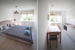 po lewej sypialnia, po prawej kuchnia w luksusowym apartamencie w Szczecinie na sprzedaż