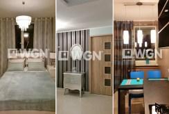 od lewej: sypialnia, przedpokój i kuchnia w luksusowym apartamencie w Katowicach na wynajem
