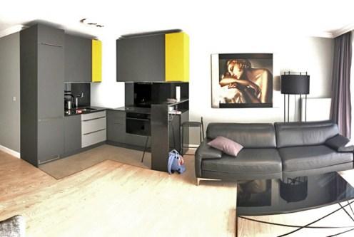 nowoczesny styl salonu w ekskluzywnym apartamencie do wynajęcia w Szczecinie