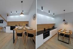 po lewej jadalnia, po prawej kuchnia w luksusowym apartamencie do wynajmu w Krakowie