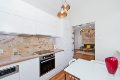 widok na wyposażoną, umeblowaną kuchnię w luksusowym apartamencie w Krakowie na wynajem