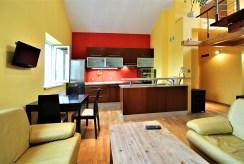 na pierwszym planie aneks kuchenny w luksusowym apartamencie w Krakowie na wynajem