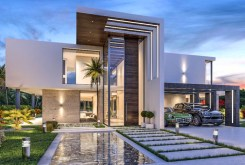 zdjęcie od strony basenu pokazujące tył luksusowej willi do sprzedaży w Hiszpanii (Costa del Sol, Malaga)
